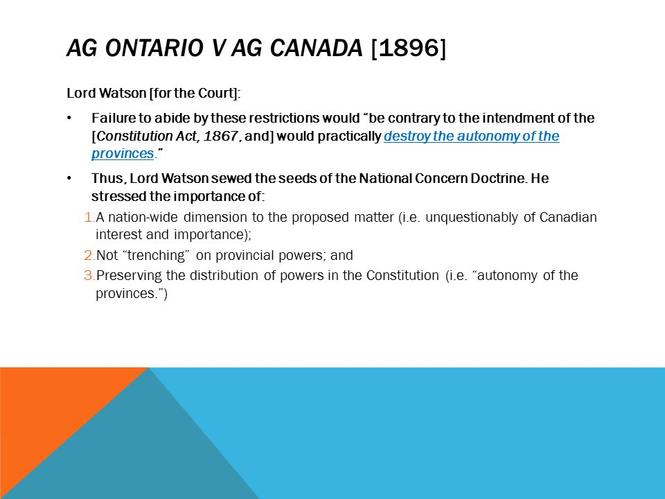AG Ontario v AG Canada [1896]